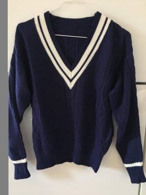 Dunkelblauer Pullover Maritim Strick Gr. 36