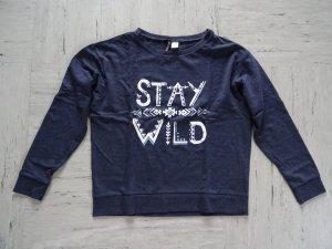 Dunkelblauer Pullover mit Aufdruck von H&M