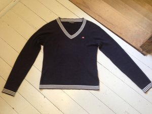 Polo Jeans Co. Ralph Lauren V-Neck Sweater white-dark blue cotton