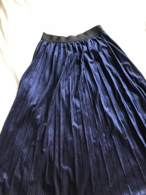 Maje Pleated Skirt dark blue-black mixture fibre