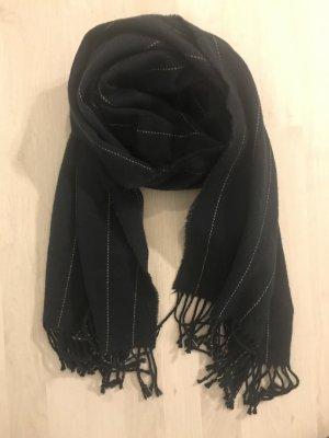 H&M Bufanda de lana azul oscuro-crema
