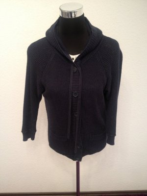 Coarse Knitted Jacket dark blue