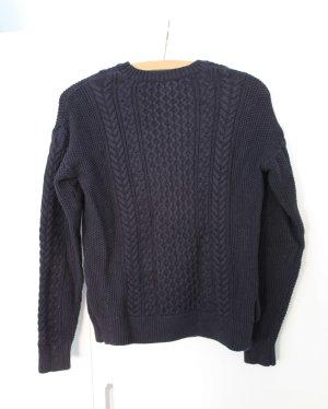 Dunkelblauer Strick-Pullover mit Zopfmuster, Größe S