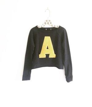 dunkelblauer sweater / A - buchstabe / vintage / blue / yellow / pulli