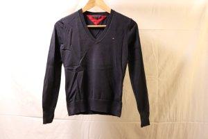 dunkelblauer Tommy Hilfiger V-Ausschnitt Pullover