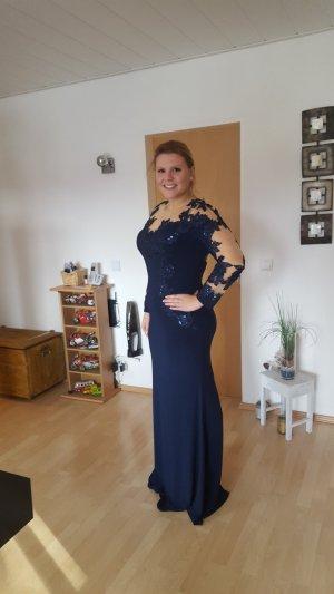 Vestido de manga larga nude-azul oscuro