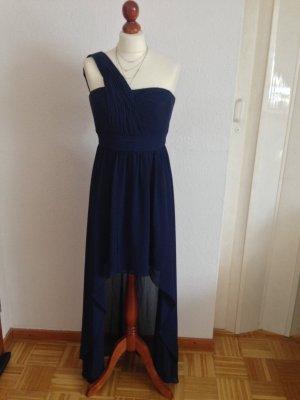 Marie Lund One Shoulder Dress dark blue polyester
