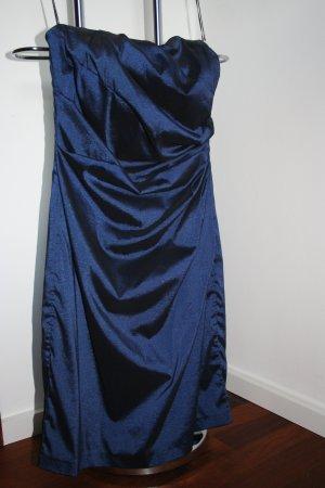 Dunkelblaues Bandeau Kleid mit seitlicher Raffung