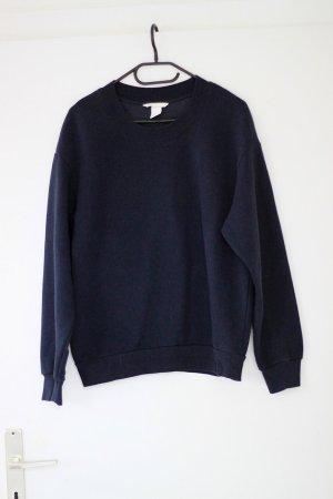 dunkelblaues Basic Sweatshirt mit Rundhalsausschnitt, Oversized