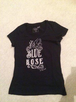 dunkelblaues / blaues Mustang Shirt mit Logo The Blue Rose - Gr. XS