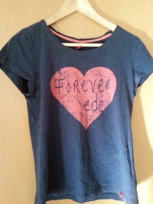 Dunkelblaues Esprit T-Shirt mit Herz und Schriftdruck