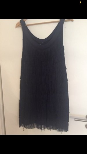 H&M Fringed Dress dark blue-blue