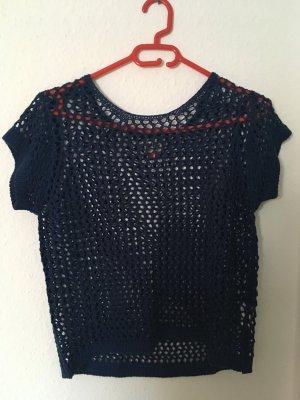 Only Gehaakt shirt donkerblauw Wol