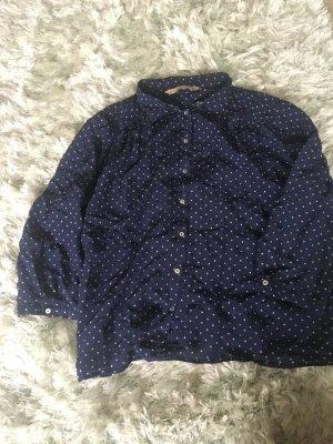 Zara Camicetta a blusa crema-blu scuro