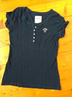 Dunkelblaues Hollister Shirt mit Knopfleiste (S)