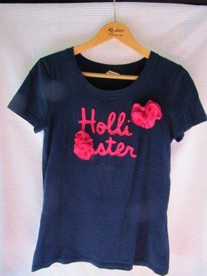 Dunkelblaues Hollister Shirt mit pinken Blumen