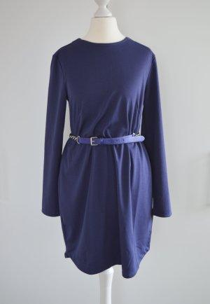 dunkelblaues Kleid mit Gürtel H&M