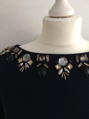 Dunkelblaues Kleid mit Schmucksteinen, Gr. 38 NEU