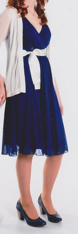 dunkelblaues Kleid mit weißem Band