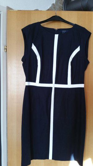 Dunkelblaues Kleid mit weissem Streifen
