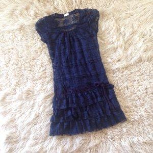 Kanten jurk donkerblauw-blauw
