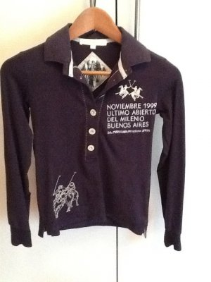Dunkelblaues Langarm-Poloshirt von La Martina
