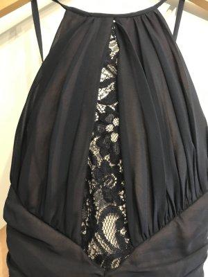 Dunkelblaues langes Kleid mit Spitzeneinsatz