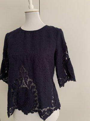 Cynthia Rowley Lace Top dark blue