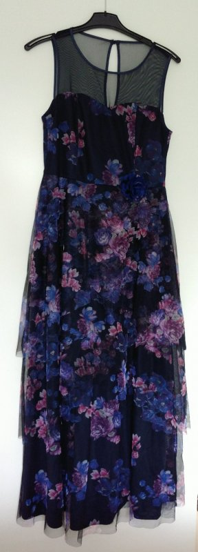 Dunkelblaues Maxi-Kleid mit Blumenmuster