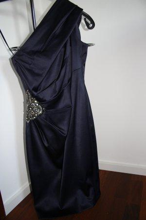 Dunkelblaues One-Shoulder-Kleid mit Steinchen