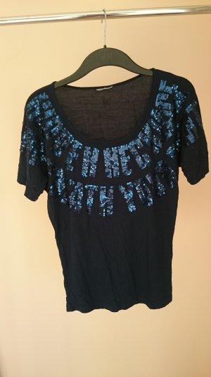 dunkelblaues Pailetten Shirt