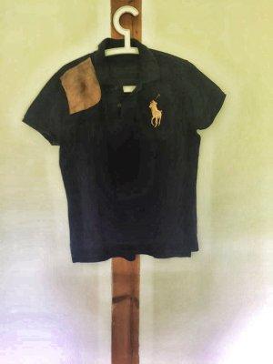 "Dunkelblaues Poloshirt ""Big Pony mit Lederpatch"" von Polo Ralph Lauren"