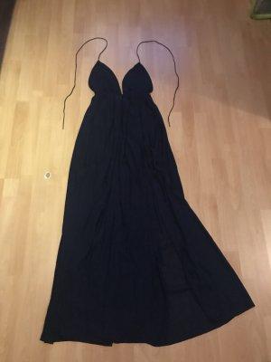 Dunkelblaues schulterfreies Kleid