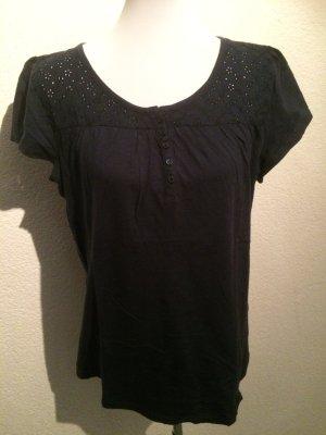dunkelblaues Shirt mit Blumenmuster von Yessica - Gr. L