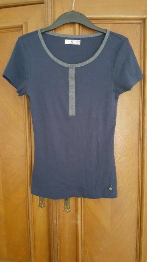 Dunkelblaues Shirt mit Knopfleiste, Größe 36/38
