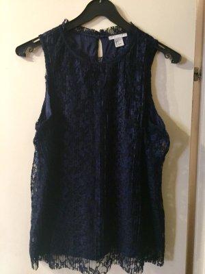 H&M Top de encaje azul oscuro