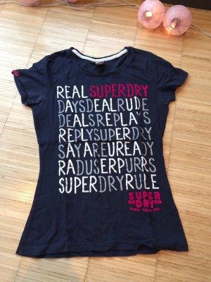 Dunkelblaues Superdry T-shirt mit Aufschrift