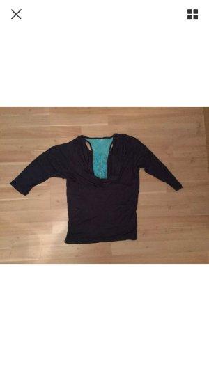 dunkelblaues Sweatshirt mit hellblauer Spitze am Rücken der Marke Maui Wowie XS