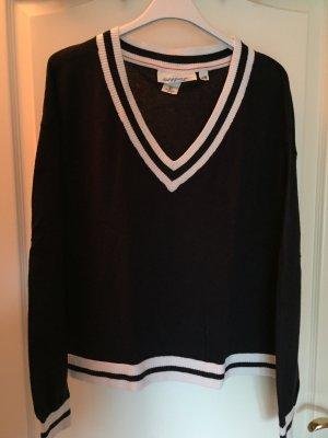 dunkelblaues Sweatshirt mit V-Ausschnitt