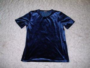 dunkelblaues T-Shirt aus Samt von Vila Gr. L 40/42