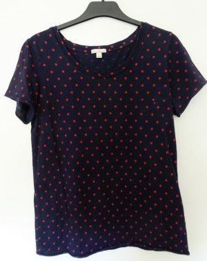 Dunkelblaues T-Shirt mit ziegelrotem Punkte-Print