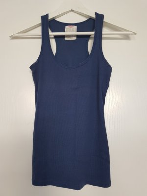 Zara Trafaluc Tank Top dark blue cotton