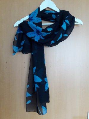 dunkelblaues Tuch mit Blumenmotiv