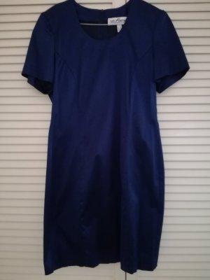 Dunkelblaues Vintage -Samtkleid mit Schulterpolstern