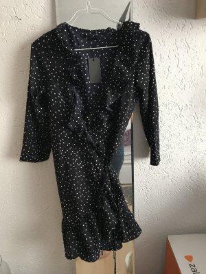 Vestido cruzado azul oscuro-blanco