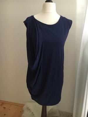 Dunkelblaues Zara Kleid mit raffinierter Raffung vorne