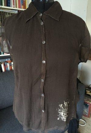 dunkelbraune Bluse aus Crepe de Chine (gekrinkelte Seide).