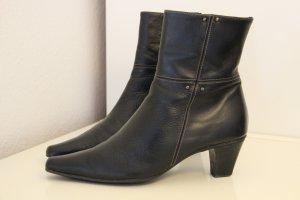 dunkelbraune Echtleder-Stiefelette mit kleinem Absatz, Größe 37