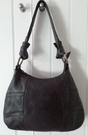Dunkelbraune Echtleder-Tasche von ESPRIT