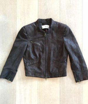 dunkelbraune Esprit Jacke im Velours-Look mit Schulterpolstern